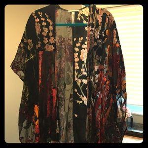 Velvet and sheer kimono from Anthropologie